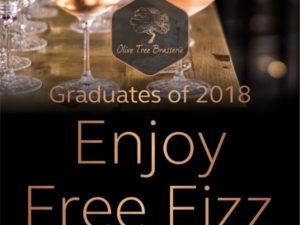 Free Fizz for Graduates at Olive Tree Brasserie
