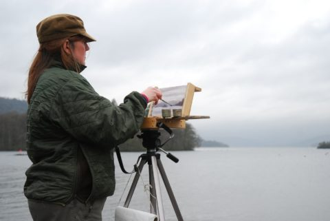 Alison Bradley sketching Lake Windermere