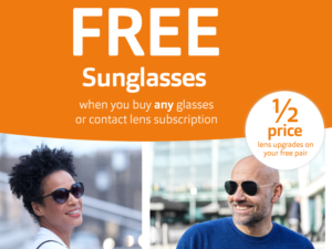 FREE Sunglasses when you buy glasses or contact lens at Vision Express