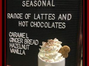Gingerbread Hot Chocolate and Latte's at Tea Press Debenhams