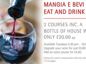 Bollicini: 2 Courses and bottle of wine for £20